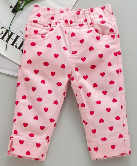 Kiddopant Three Fourth Length Heart Print Pants - Pink
