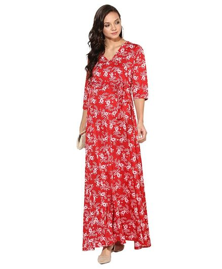 Momsoon Flower Print Front Tie Up Three Fourth Sleeves Maternity Dress - Red
