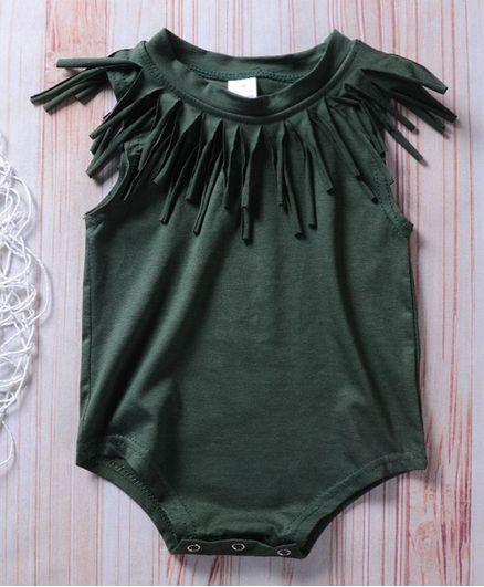 d37904bd9 Buy Pre Order Awabox Solid Sleeveless Tassel Onesie Green for Girls ...