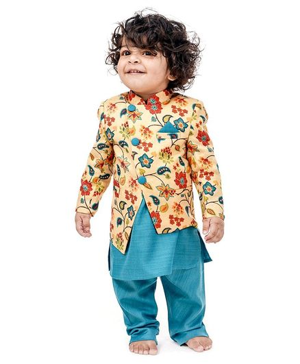 Babyoye Full Sleeves Kurta Pyjama Set With Jacket Floral Print - Blue Yellow