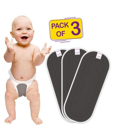 Bembika Cotton Bamboo Charcoal Inserts Nappy Inserts Pack of 3 - Grey