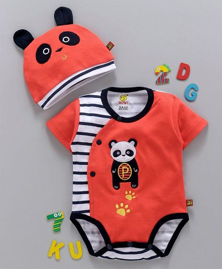 59a52bfc2 Buy WOW Clothes Half Sleeves Romper With Panda Style Cap Peach for Boys  (0-3 Months) Online in India, Shop at FirstCry.com - 2827219