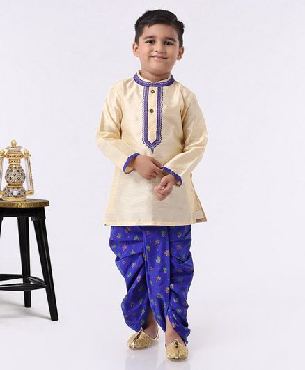Babyhug Full Sleeves Kurta & Dhoti Set - Royal Blue Beige