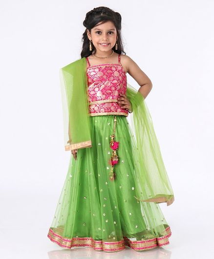 Babyhug Cold Shoulder Choli & Lehenga With Dupatta Floral Embroidery - Pink Green
