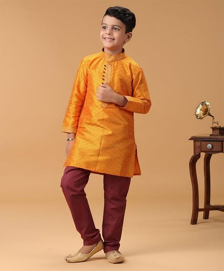 Babyhug Full Sleeves Kurta & Pyjama Set - Orange & Brown