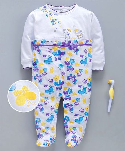 Cucumber Full Sleeves Footed Sinker Romper Butterfly & Floral Print - White Purple
