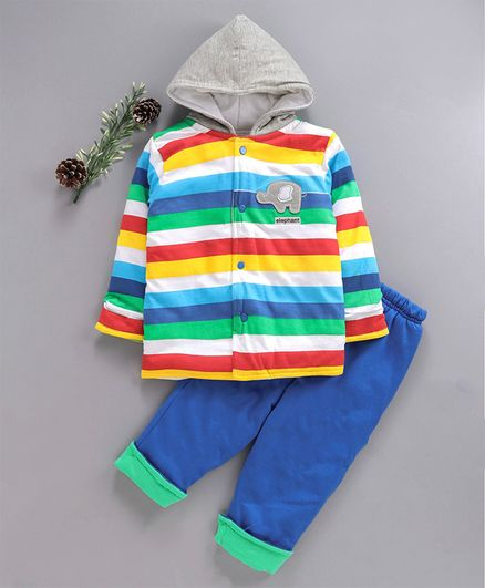 Cucumber Full Sleeves Hooded Tee & Bottoms Set Stripes Pattern - Multicolor
