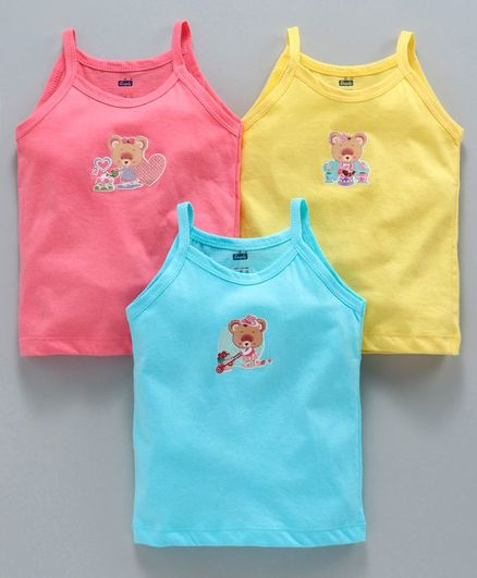 c17aa038b34d Buy Simply Singlet Slips Multi Print Pack of 3 Pink Blue Yellow for Girls  ...