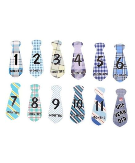 Babymoon Necktie Milestone Sticker Blue- 12 Pieces