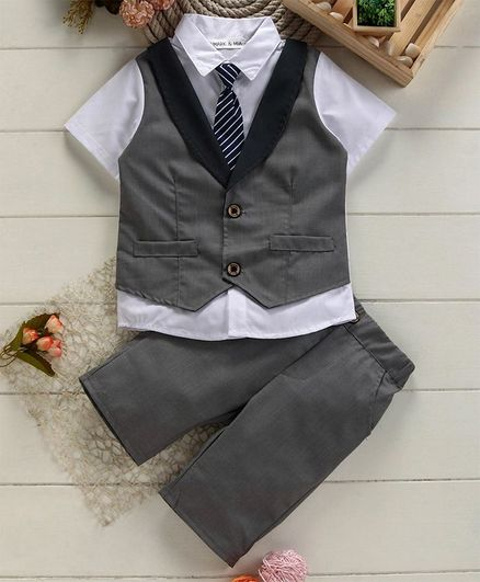 Mark & Mia Half Sleeves Shirt With Trousers & Striped Tie - Grey
