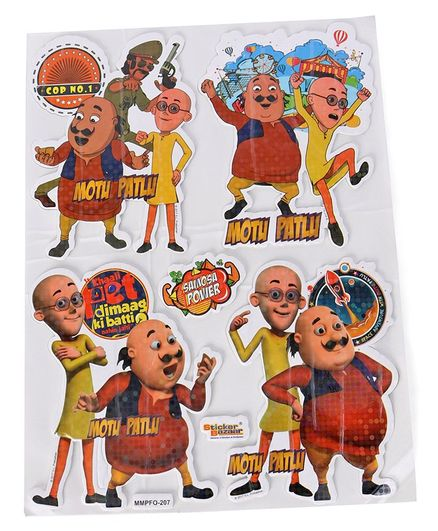 Sticker Bazaar Motu & Patlu A4 Foam Sparkle Stickers - Multi Color
