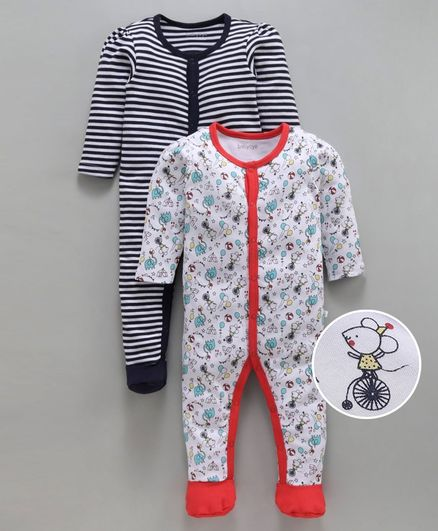 Babyoye Full Sleeves Footed Cotton Rompers Pack of 2 Printed And Striped - White Navy Blue
