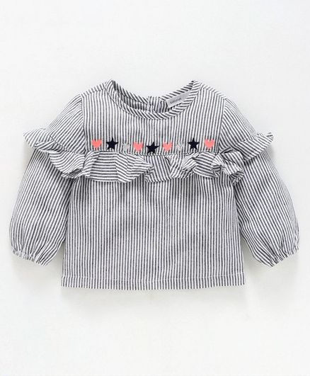 Babyoye Full Sleeves Striped Top Heart Star Embroidered - White Grey