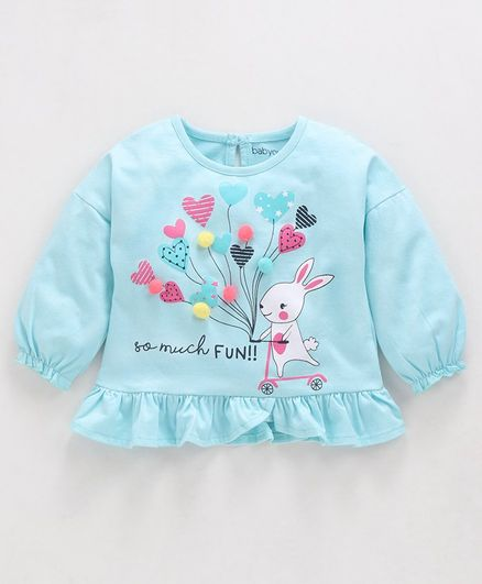 Babyoye Cotton Full Sleeves Top Striped Heart & Bunny Print - Light Blue