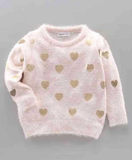 Babyoye Acrylic Full Sleeves Sweater Heart Design - Light Pink