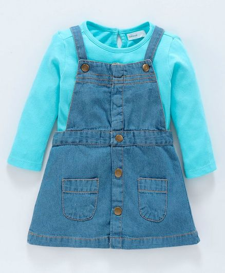 Babyoye Denim Frock With Full Sleeves Tee Solid Colour - Blue