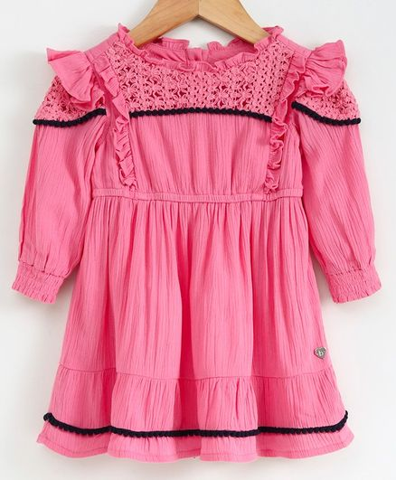 Babyoye Full Sleeves Frilled Frock - Hot Pink