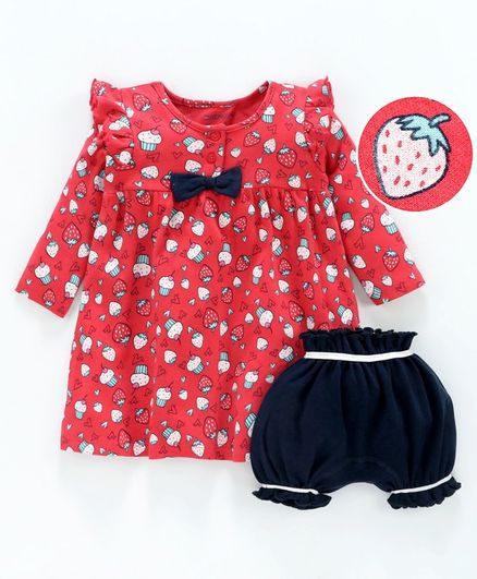 Babyoye Full Sleeves Frock With Bloomer Strawberry Print - Red