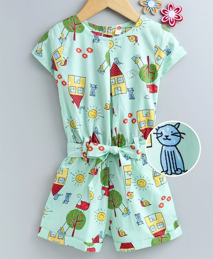 Dew Drops Short Sleeves Poplin Jumpsuit House Print - Aqua Green