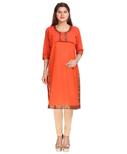 3524434604208 Morph Maternity Three Fourth Sleeves Ethnic Nursing Kurta Orange ...