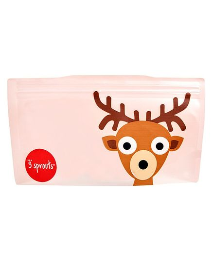 3 Sprouts Reusable Deer Snack Bag Pack Of 2 - Brown & Pink