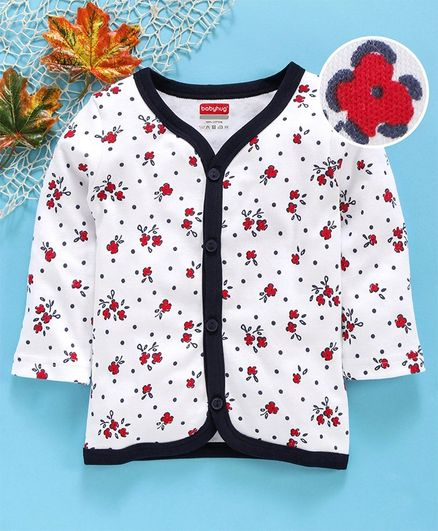 Babyhug Full Sleeves 100% Cotton Vest Floral Print - Navy Blue White