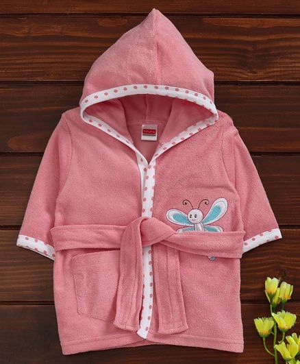 Babyhug Full Sleeves Hooded Bathrobe Butterfly Patch - Pink