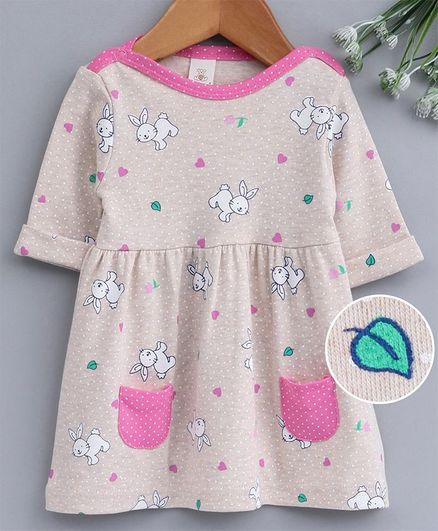 Baby Naturelle & Me 3/4th Sleeves Frock Rabbit Print - Beige