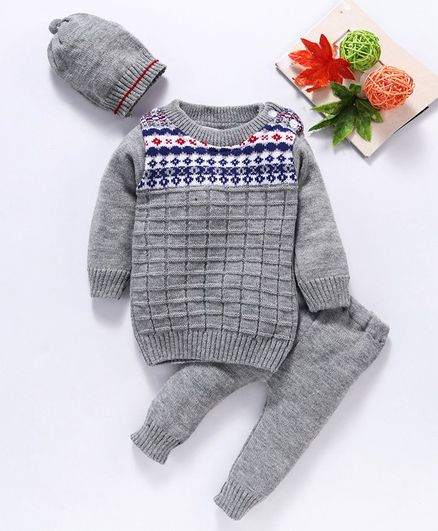 Babyhug Full Sleeves Sweater & Pajama With Cap Geometric Design - Grey