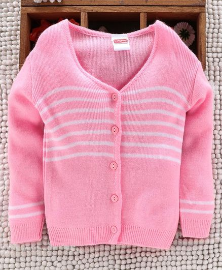 Babyhug Full Sleeves Front Open Striped Sweater - Light Pink