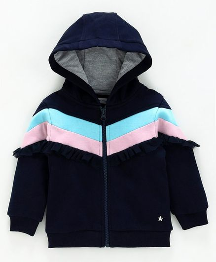 Babyoye Full Sleeves Hooded Cotton Sweat Jacket Ruffle Detailing - Navy Blue