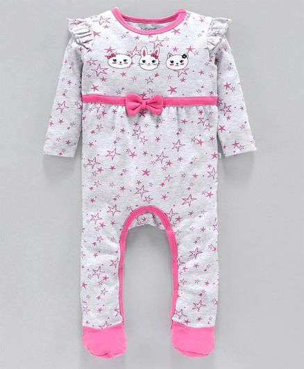 Babyoye Full Sleeves Cotton Footed Romper Star Print - Grey