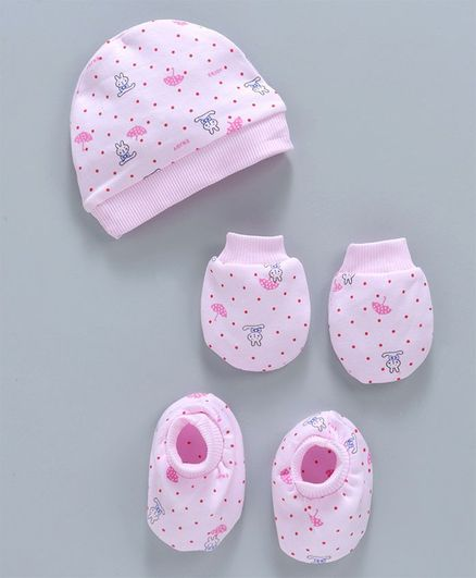768f22a5a Simply Dotted Cap Mittens & Booties Set Bunny Print Light Pink Online in  India, Buy at Best Price from Firstcry.com - 2841944