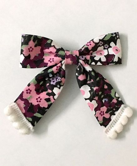 Knotty Ribbons Floral Bow Alligator Clip - Black