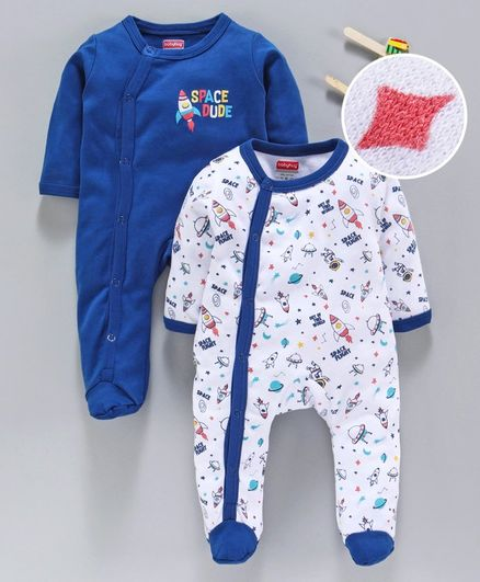 Babyhug 100% Cotton Full Sleeves Footed Sleep Suit Space Print - Blue White