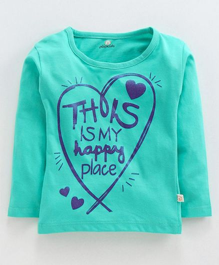 Olio Kids Full Sleeves Sinker Tee Text & Heart Print - Sea Green
