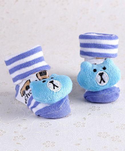 Baby Socks Blue Cream Teddy Bear Socks 0-3 mths 3-6 mths