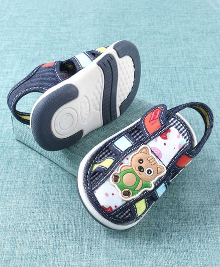 Cute Walk by Babyhug Sandals Teddy Patch - Blue