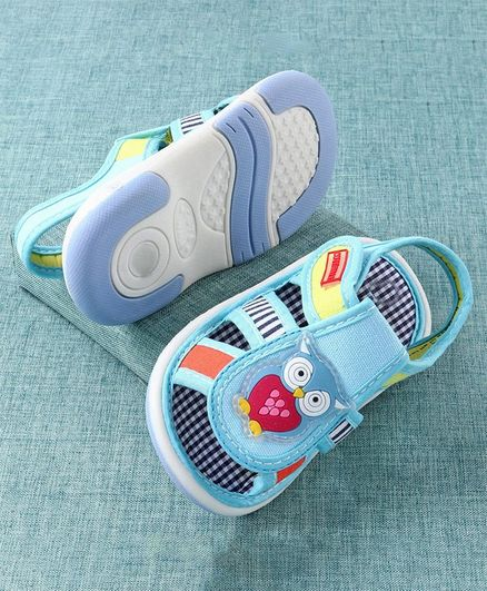 Cute Walk by Babyhug Sandals Owl Patch - Blue