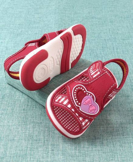 Cute Walk by Babyhug  Sandals Heart Patch - Red