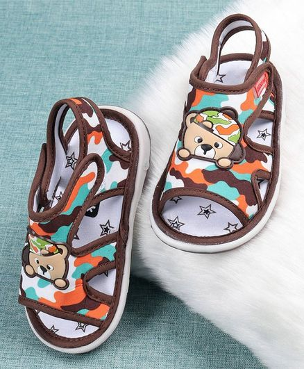 Cute Walk by Babyhug Camouflage Sandals Bear Patch - Brown