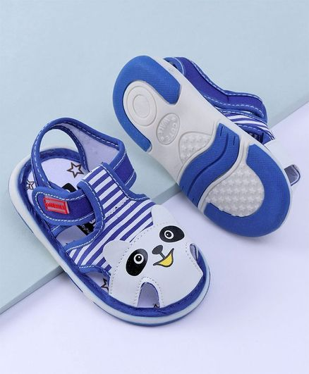Cute Walk by Babyhug Sandals Bear Patch - Blue Grey