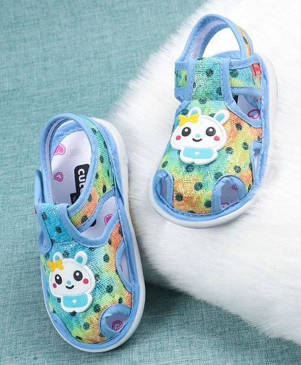 Cute Walk by Babyhug Sandals Cartoon Patch - Blue Green