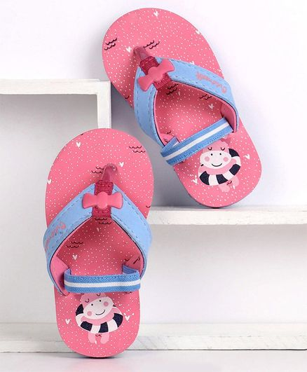 Cute Walk by Babyhug Flip Flops With Back Strap Hippo Print - Pink