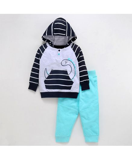 Babyoye Cotton Full Sleeves Hooded Tee And Lounge Pant Dino Print - Black Sea Green