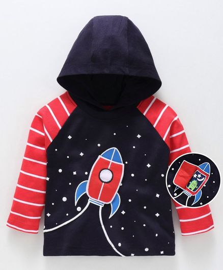 Babyoye Full Sleeves Hooded Tee Rocket Print - Navy Blue