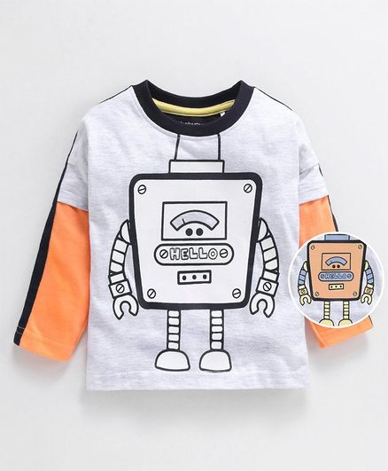 Babyoye Full Sleeves Cotton T-Shirt Robot Print - White Orange