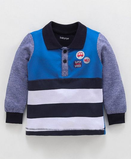 Babyoye Full Sleeves Polo Tee Car & Text Patch - Navy Blue