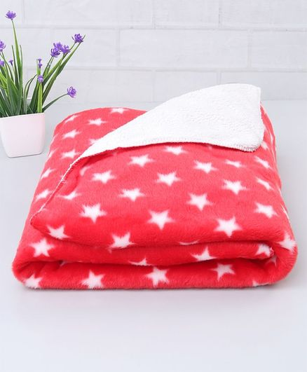 Babyhug Poly Wool Blanket Stars Print - Red