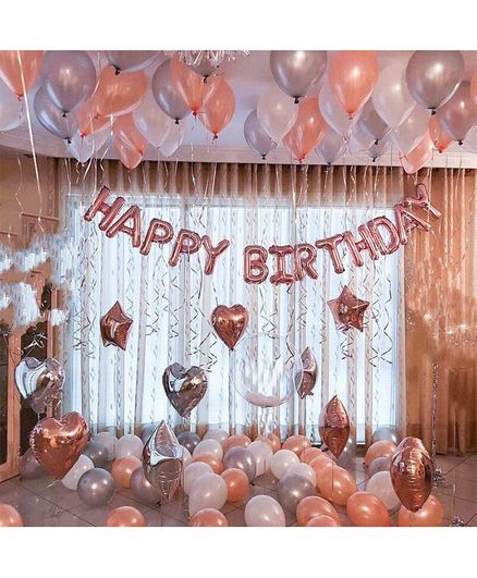 Balloon Junction H.B Letter Foil Balloons Birthday Decoration Set Pink Silver White - Pack of 47